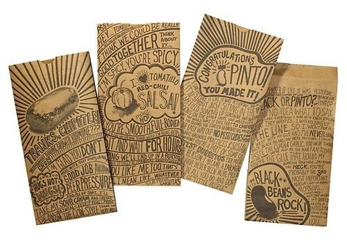 food packaging design: Hands Written, Chipotle Mexicans Grilled, Food Packaging Design, Paper Bags, Chipotle Mexican Grill, Hands Drawn Typography, Hands Letters, Handdrawn, Graphics Design