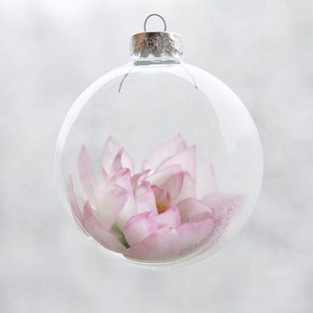 Like ship in a bottle Handmade lotus, cold porcelain for Christmas tree