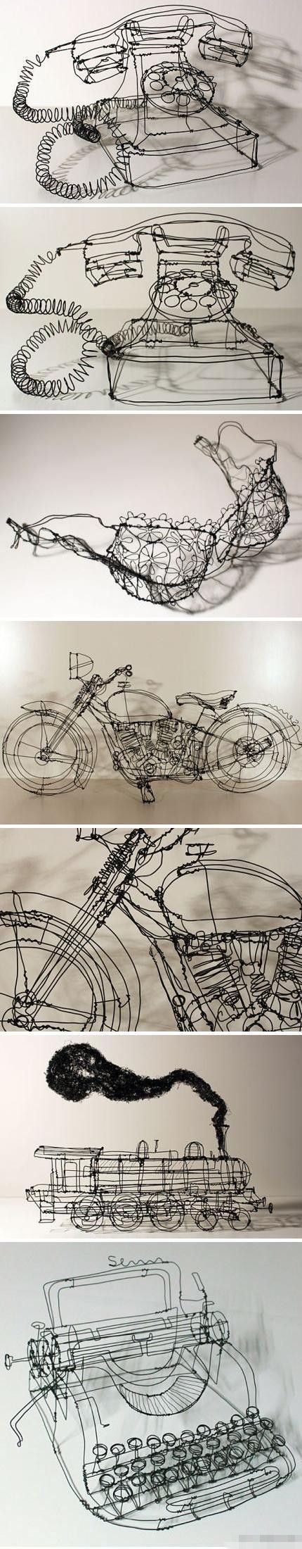 Nice 3-D ideas for CONTOUR LINE. 3D art made from iron by German artist Martin Senn.