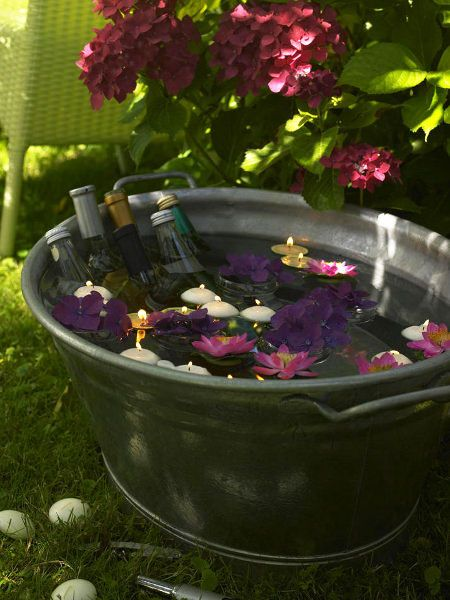 Garden Party Floating Candles And Flowers In Ice Tub