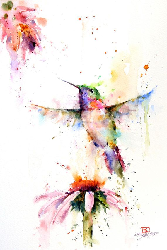 PEE WEE 12 x 18 giclee print from original watercolor painting by Dean Crouser. Loose and colorful watercolor that depicts a hummingbird…