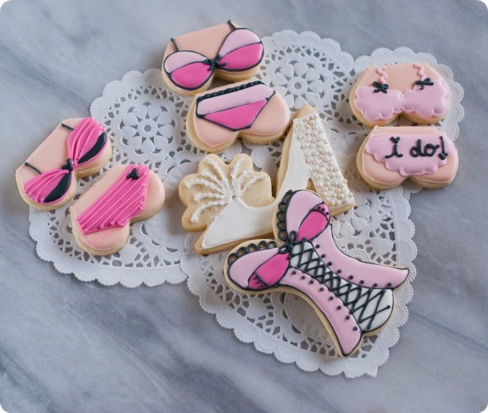 lingerie decorated cookies for a honeymoon or lingerie-themed bridal shower...or bachelorette party ♥