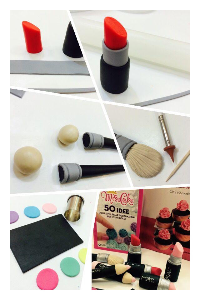 Fondant make-up topper #cake #Sugarart #fimo #cakedesign #topper #makeup #mac #fashion #style #misscake