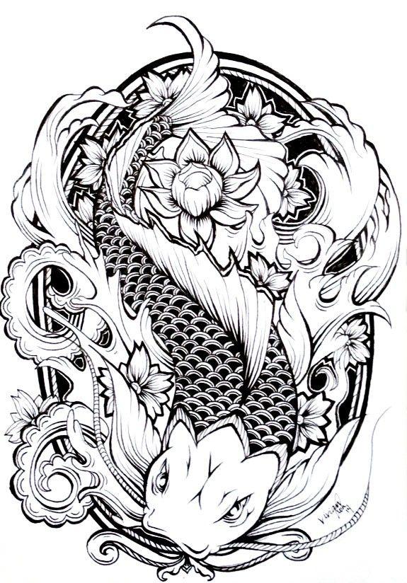 Traditional Black And White Koi Fish Swimming In Dark Water Tattoo Design Koi Fish Drawing Koi Tattoo Design Water Tattoo