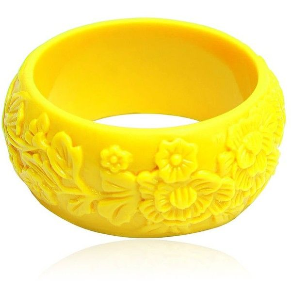 MARIAH ROVERY Pulseira Flores Bracelet ($89) ❤ liked on Polyvore featuring jewelry, bracelets, accessories, yellow, bracelet bangle, silicone bracelet, handcrafted jewelry, silicone jewelry i yellow jewelry