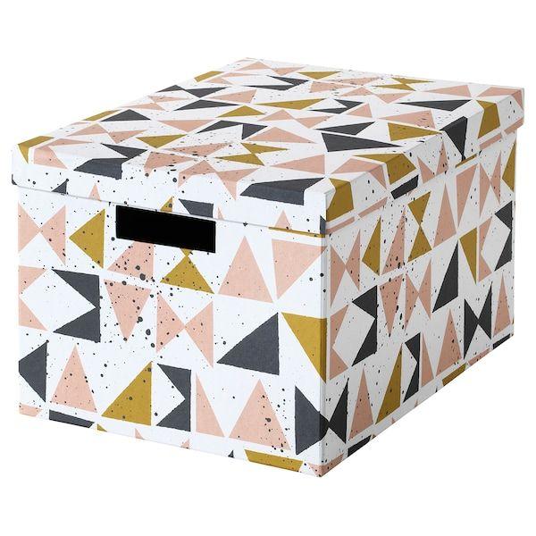 Tjena Boite De Rangement Avec Couvercle Blanc Noir Rose Ikea