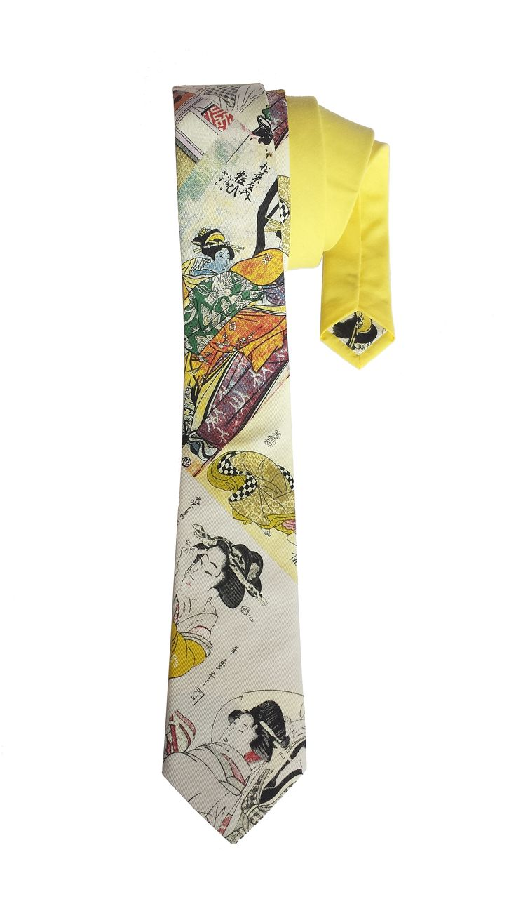 Japanese Geisha print Cotton Tie - Yellow