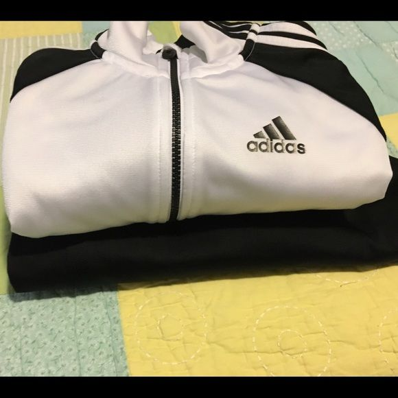Adidas tracksuit set black white Large Jacket Like new worn a few times comes from a pet and smoke free home Adidas Other