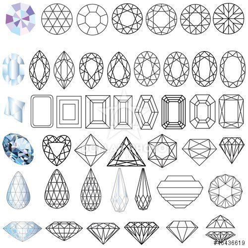 cut precious gem stones set of forms