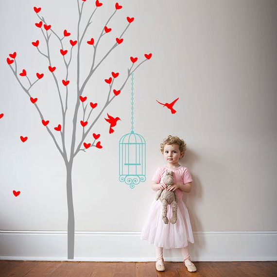 Tree Wall Sticker With Bird Cage Heart Tree Wall Decal Nursery, Play Room Decoration Girls Vinyl Decal - ID706 on Etsy, £40.57