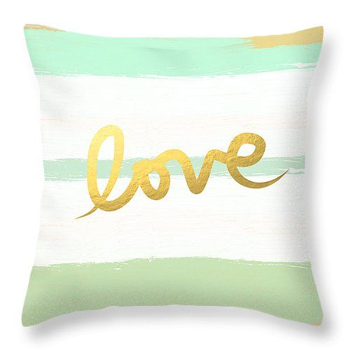 "Love in Mint and Gold Throw Pillow 14"" x 14"" by @lindawoods on Fine Art America"