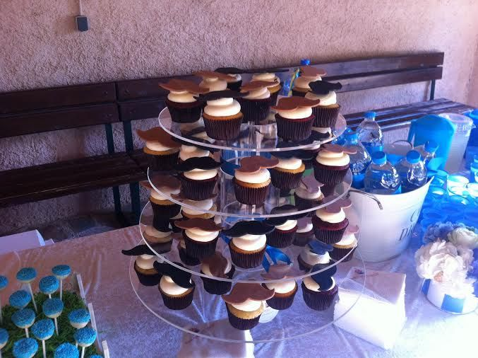 #decorated #mustache #cupcakes #blue #baptism