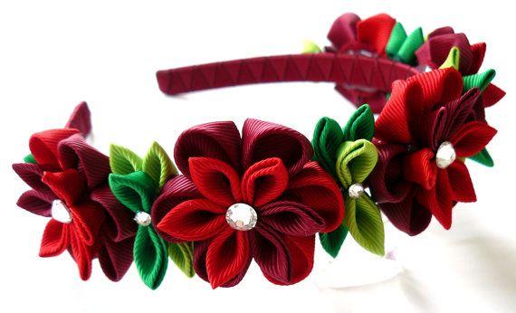 Diadema de flores de tela Kanzashi rojo. Diadema de la por JuLVa