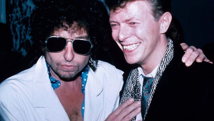 Bob Dylan and David Bowie. 1985.