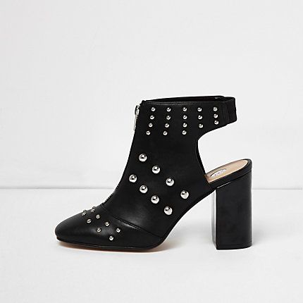 Black leather look studded shoe boots £58.00