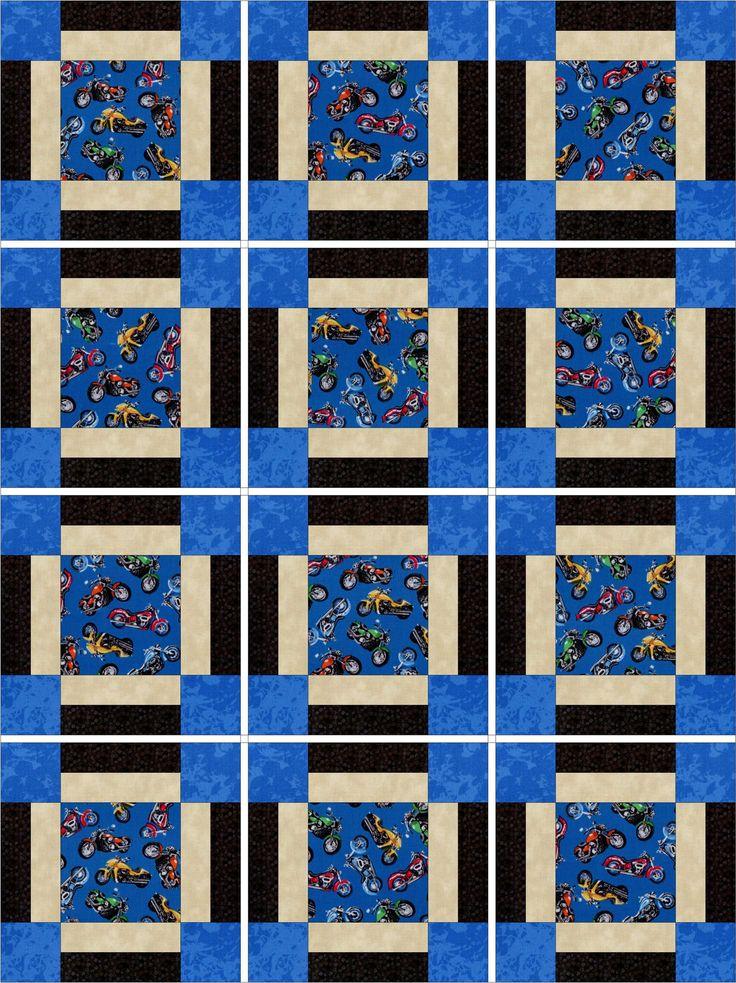 Motorcycles on Blue Quilt Kit Pre-Cut Blocks