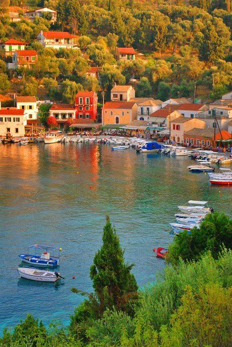 Loggos, a seashore village on Paxos island, Greece