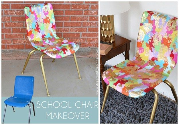 Splotchy Painted School Chair | 35 Awesome Ways To Give New Life To Old Furniture