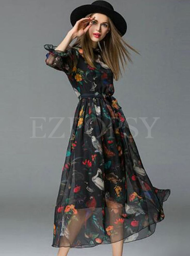 Shop for high quality Chiffon Floral Print Bohemia Maxi Dress online at cheap prices and discover fashion at Ezpopsy.com