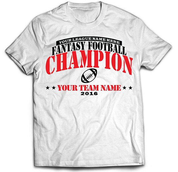 Did you win your fantasy league this year? If you did, don't just quietly take your winnings...talk smack and on top of that taunt your league mates with this white or black customized and personalized Fantasy Football Championship T-shirt. This is a great alternative to a fantasy football championship belt or fantasy football trophy.  It is the perfect shirt to wear if you participate in a live in-person offline draft serving as the best reminder of who is the reigning champion.