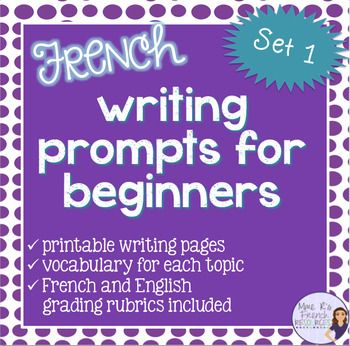 4 guided paragraphs for beginning French will get your students writing paragraphs in no time! NO PREP for you!!!  This set is especially good for students just learning basic vocabulary and phrases.Each topic includes a vocabulary list of helpful words and/or phrases that can be used as a primary vocabulary list or as a supplement to your own text and curriculum.French and English directions pages included!Each topic includes two printable writing pages (in color and black and white) with…
