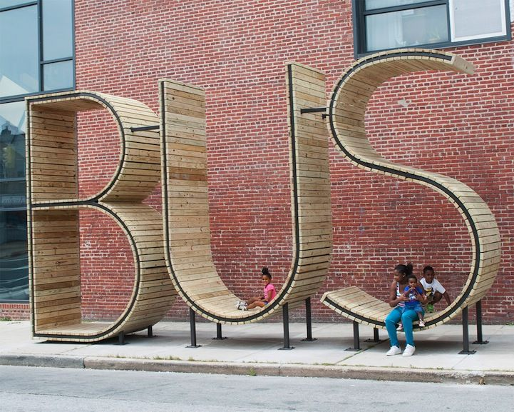 "Is it a sculpture or a bus shelter? BUS was created by the Madrid-based artist collective ""mmmm…"" for a Baltimore bus stop."
