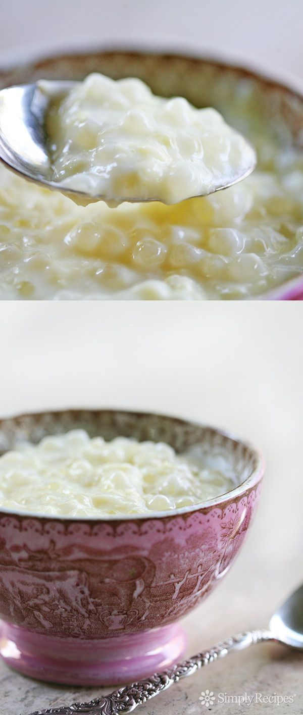 Tapioca Pudding ~ One of our favorite desserts growing up! This tapioca pudding recipe uses small pearl tapioca, milk, sugar, eggs, and vanilla. ~ SimplyRecipes.com