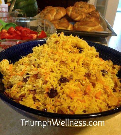 Persian Rice Pilaf With Saffron And Pomegranates Recipe — Dishmaps