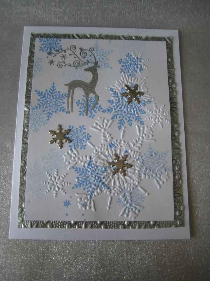 snow white and silver Stampin Up Dasher and embossing with silver brads
