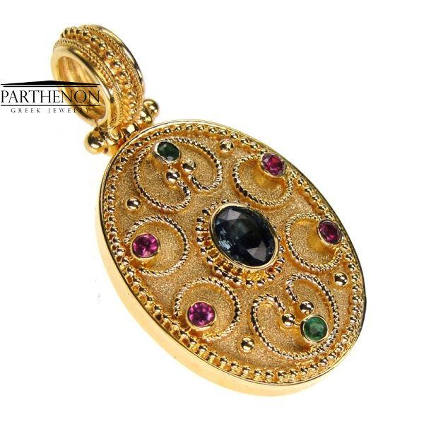 Damaskos: Handmade Byzantine Pendant 18k Solid Gold Emerald
