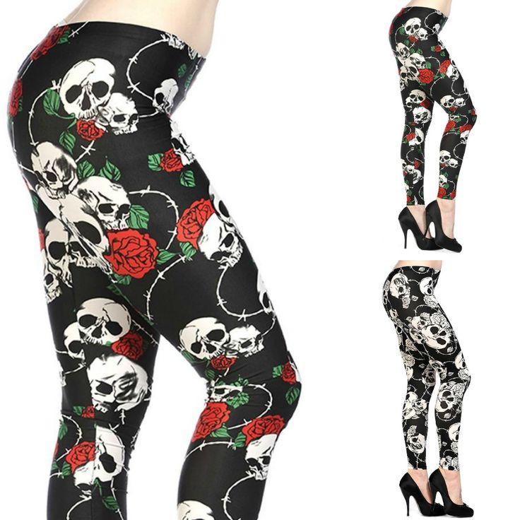 Skull Roses Leggings.   ☠ #shamorg #skull #altclothing #skulls #skeleton #teschio #skullclothing