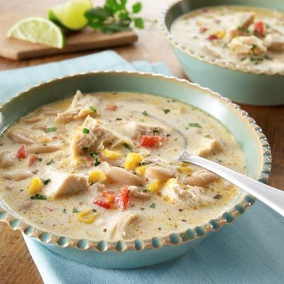 Crock Pot Cream Cheese Chicken Chili (that's a mouthful!) 2 chicken breasts, still frozen 1 can Rotel tomatoes 1 can corn kernels, do not drain 1 can black beans, drained and rinsed 1 pkg. Ranch dressing mix 1 T cumin 1 t chili powder 1 t onion powder 1 8-oz pkg. cream cheese.