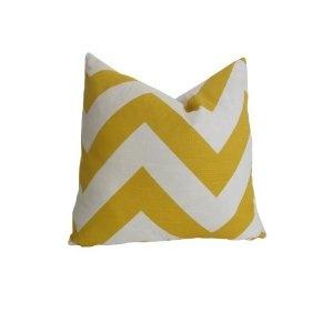 "Decorative Designer Pillow Cover Yellow & White Large Chevron 18""x18"""