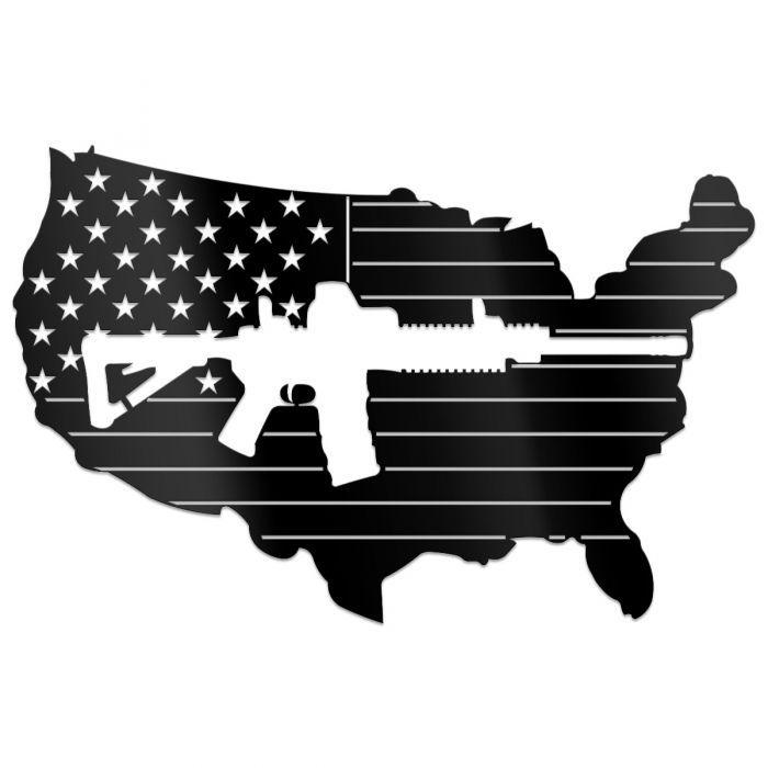 USA American Rifle Freedom 2nd Amendment Rights Metal Sign Wall Art AR15 FLAG
