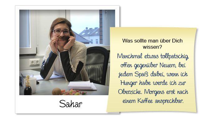 Seit dem 01.12.14 arbeitet die 27-jährige Sahar nun bei uns und kümmert sich besonders um Tätigkeiten wie Vertrieb, Kundenberatung, Kundenbetreuung und bemüht sich darum unseren Kundenstamm zu erweitern. Sahar hat sehr viel Spaß an Ihrem Job und besonders gefällt es ihr, Interessenten von unseren Produkten zu begeistern, entsprechend zu beraten und eine individuelle Lösung für den Kunden zu finden.