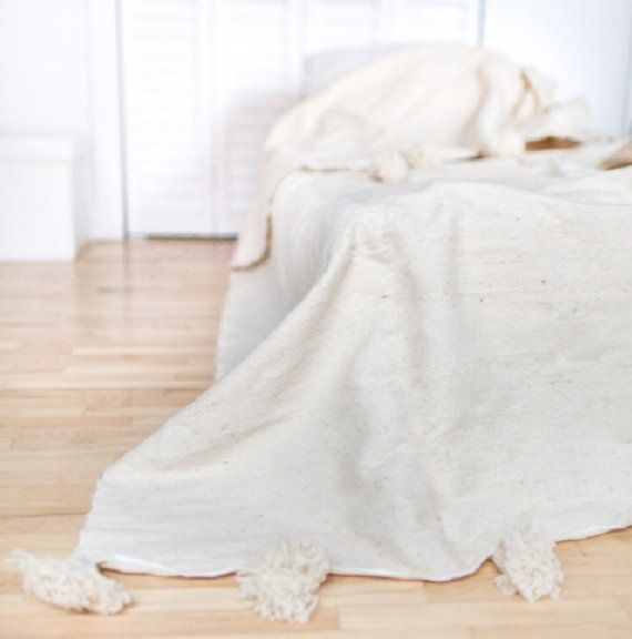 Moroccan White Pom Pom Blanket Cotton Bed Bohemian Bed Cover