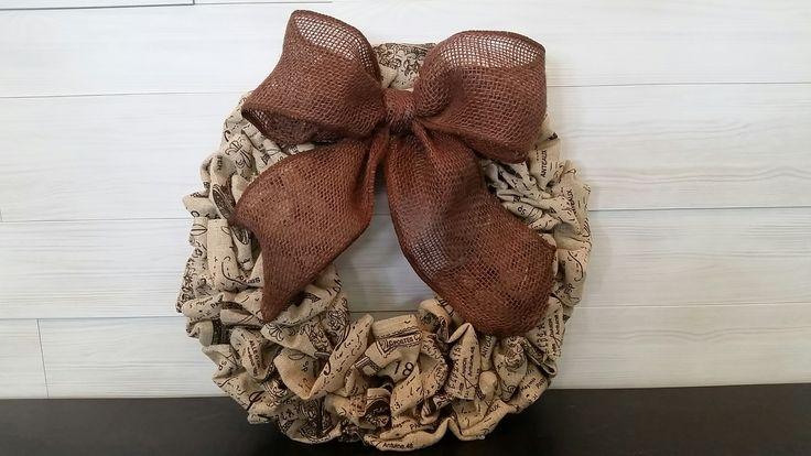 Vintage Patterned Base Wreath with Bow  #goldenforrest #goldenforrestcreations #handmade #wreathideas #frontdoordecor #wreath #bow #vintage