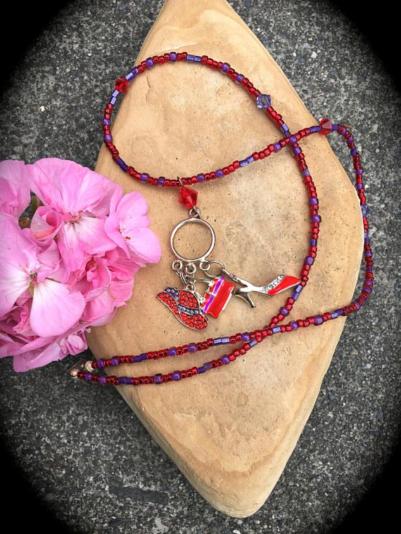 Red hat charm necklace red and purple necklace red for Red hat bling jewelry