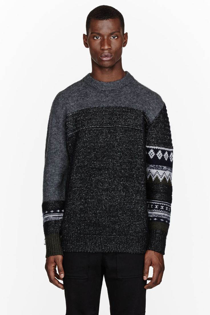 3.1 PHILLIP LIM Grey patchwork patterned sweater