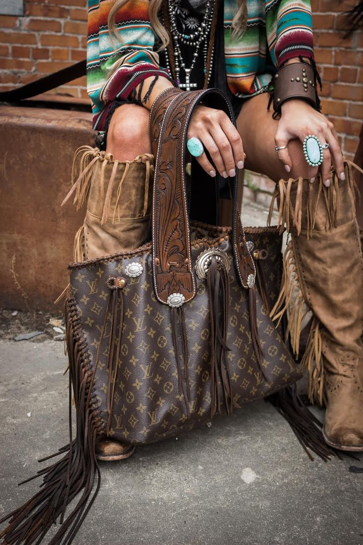 The Geronimo bag with tooled straps and featuring jewelry from Turquoise & Co.! #theoriginal #leatherandvodka #turquoiseandco