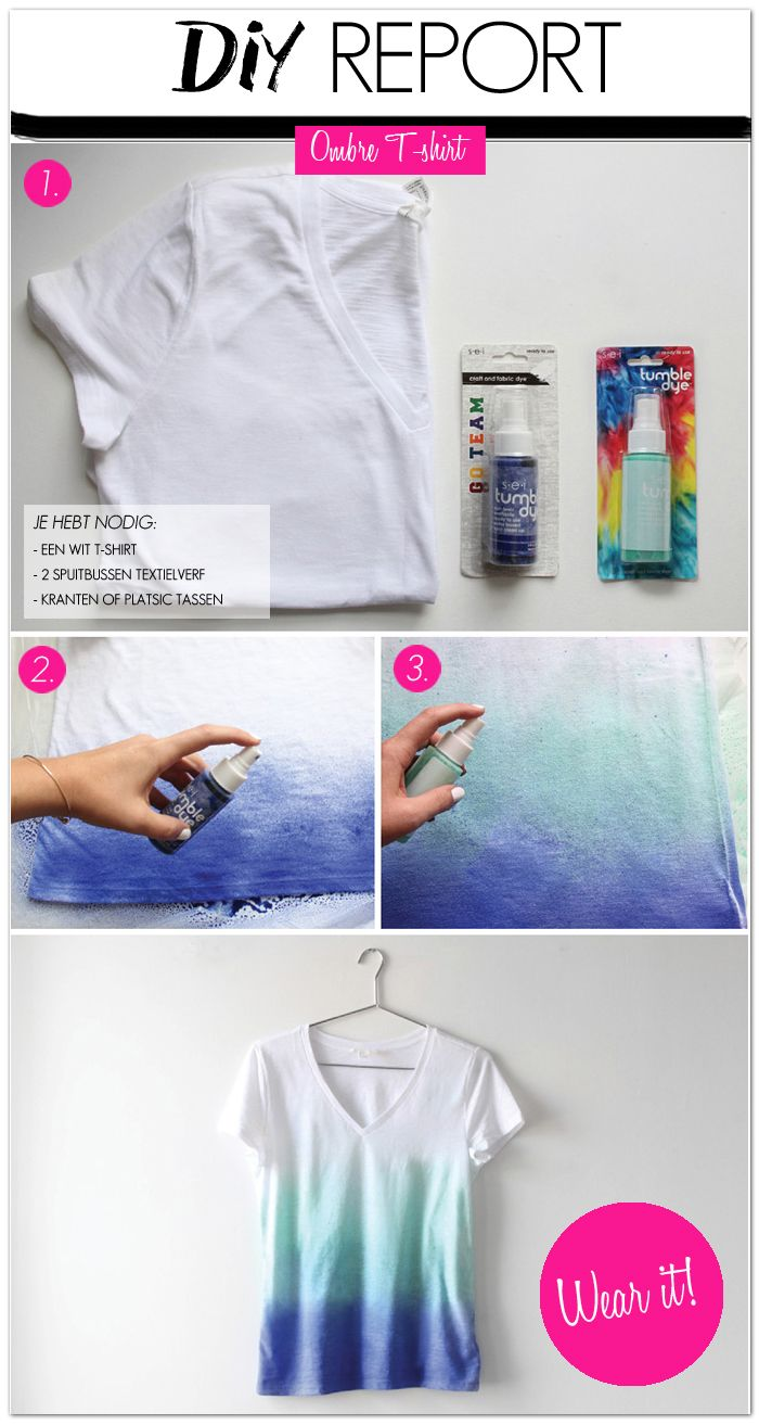 DIY: ombre t-shirt (make your own). Might also be cool to try