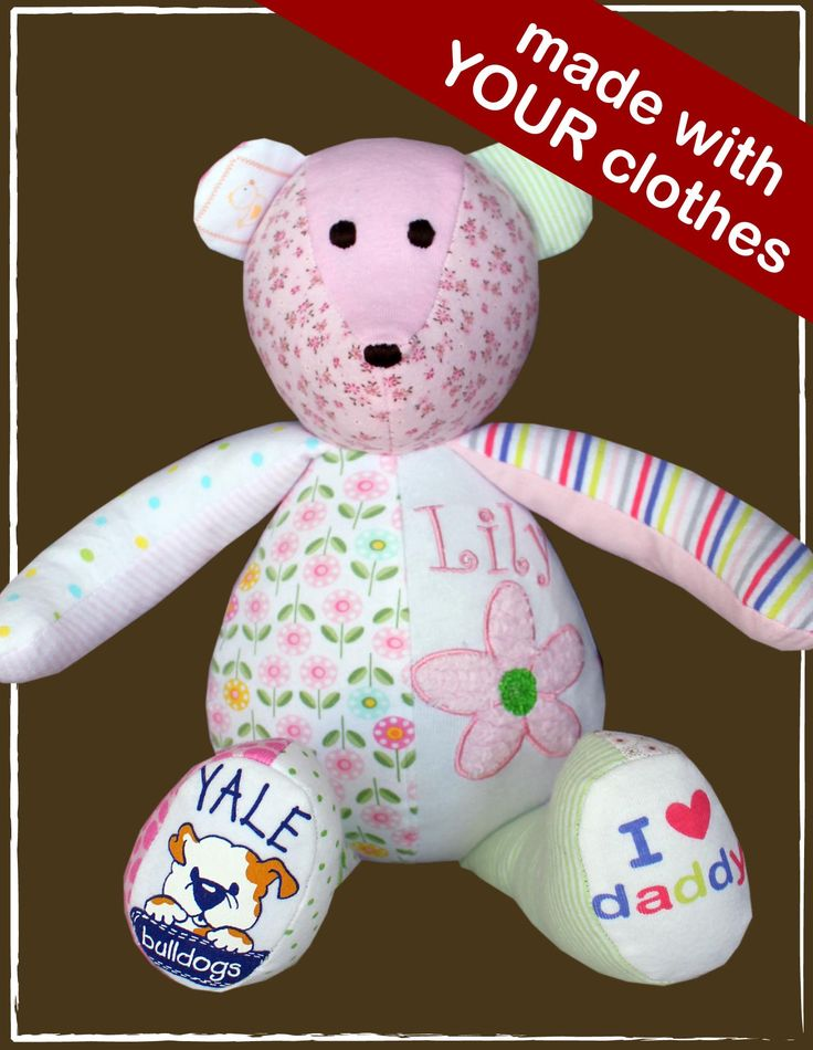 The Original Baby Clothes Bear! Every parent has favorite clothes that their kids have outgrown, full of stains and memories: The one they came home from the hospital in, first smile, first meal, first steps, family trips, etc. Preserve those memories and transform treasured clothes into a custom Patchwork Bear!