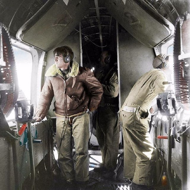 "the_ww2_memoirs Two waist gunners of a B-24 ""Liberator"" look for Japanese fighters over the Pacific Ocean, exact location and date unknown. The B-24 Liberator was a long range bomber used in both theaters of the war. Each theater presented it's own set of unique challenges to the B-24 and it's crews. The B-24 Liberator was made to be a fast and effective long range bomber which it was but it had one major drawback. This increased range required more fuel and this fuel was easy to set fire if…"