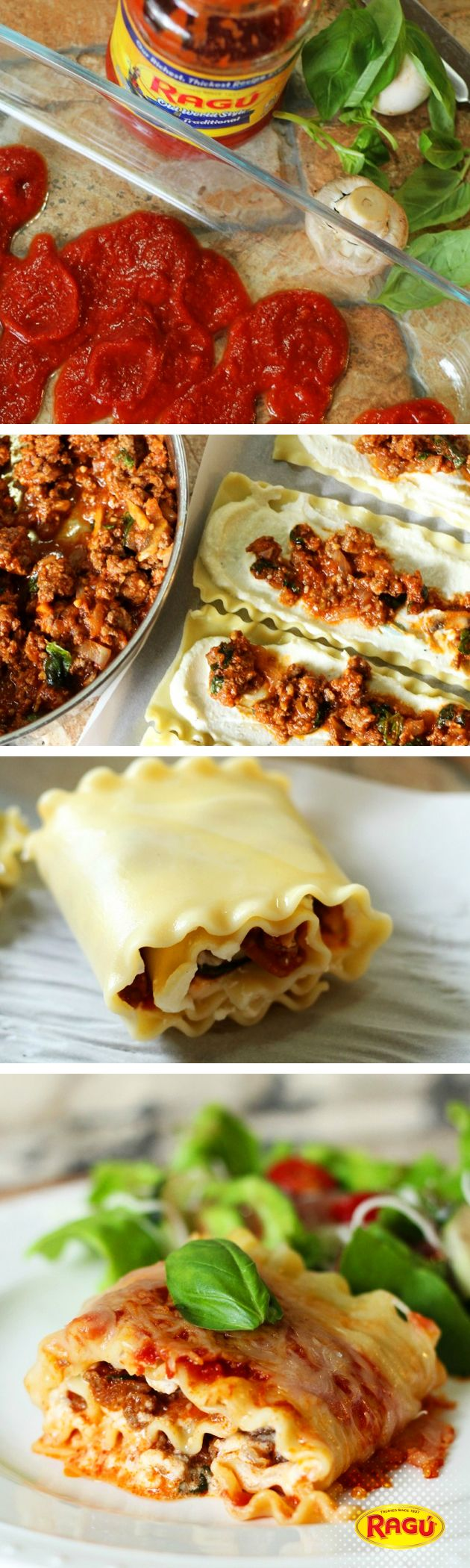 Let's get creative in the kitchen, with these Easiest Ever Lasagna Roll Ups! Dinner's on a roll with the great tastes of hearty ground beef, rich ricotta cheese, thick lasagna noodles and that wonderful Ragú Sauce. Roll, bake, and enjoy! A wonderfully easy dinner recipe from www.crystalandcomp.com.