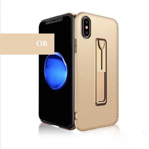 Coque aspect fibres de carbone avec attache repliable pour iPhone ...