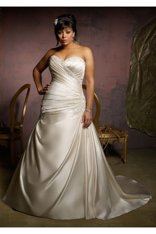 Best Ivory Sweetheart Plus Size Satin A line Ruched Lace Up Wedding Dresses