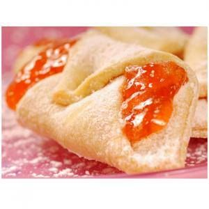 Apricot Kolaches  8 oz cream cheese, 1 lb butter, soft 2 C flour, 1/2 tsp salt, 1/2 tsp vanilla extract, 1 jar apricot or favorite jam  Combine cream cheese and butter with mixer or hands. Add flour, salt, extract. blend until it forms a workable dough. Chill dough, cover with plastic wrap. Divide into 4 parts. Roll each on floured surface to 1 1/18 inch thick. Cut into 2 inch squares. Place 1/2 tsp filling in center, fold over two corners; pinch. 350°F on parchment paper 15 min