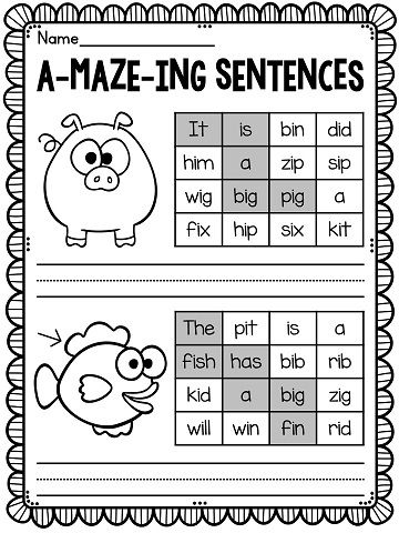 Short I worksheets and activities