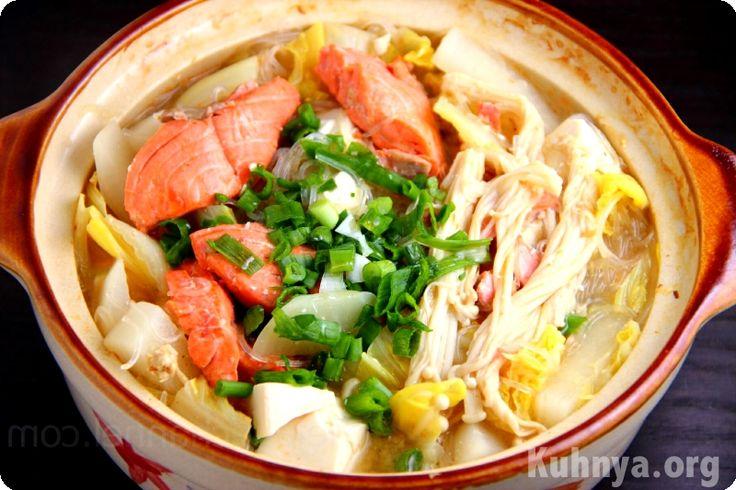 Японский суп из морепродуктов на кокосовом молоке