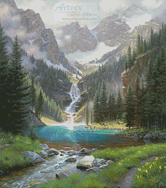 Lake Solitude - Cross Stitch Chart - Click Image to Close
